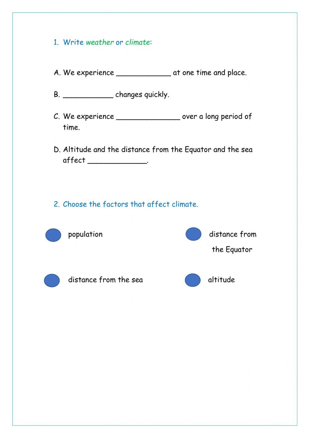 Weather and Climate Worksheets Weather and Climate Interactive Worksheet