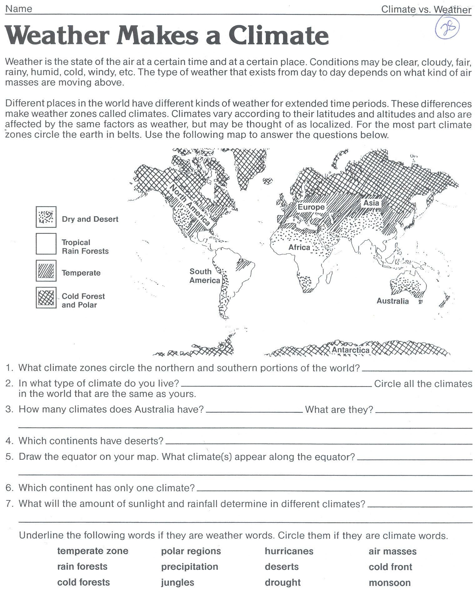 Weather and Climate Worksheets Weather Makes A Climate Worksheet