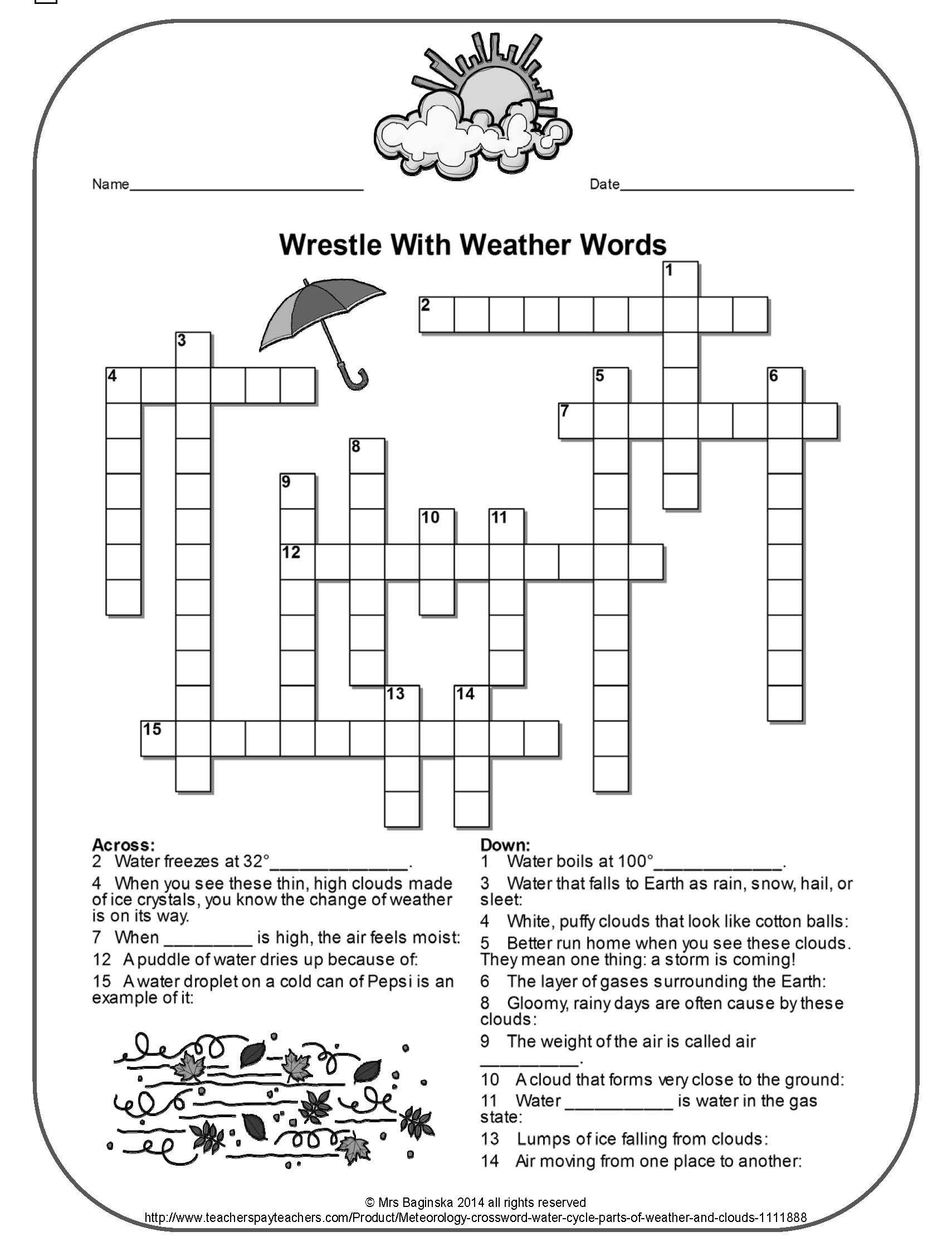 Weather Worksheets for Second Grade Free Weather Crossword Perfect for the Review Of Important