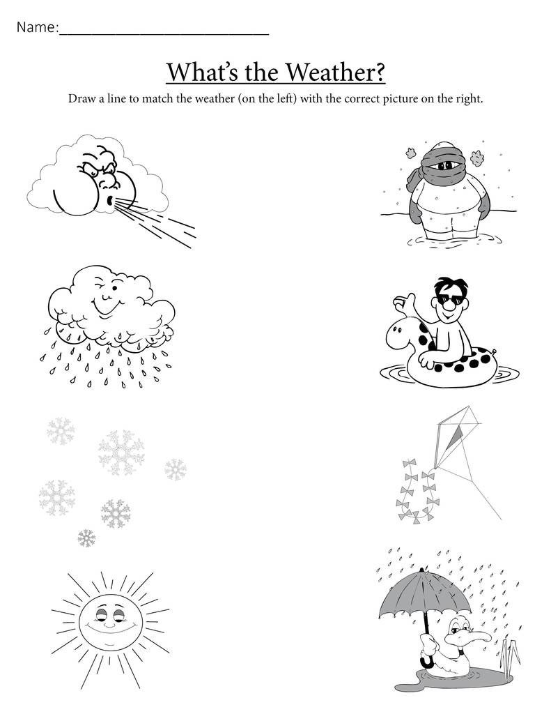 "Weather Worksheets for Second Grade ""what S the Weather "" Printable Matching Worksheet"