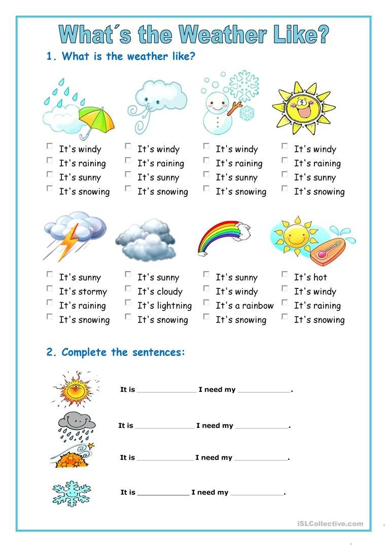 Weather Worksheets for Second Grade the Weather English Esl Worksheets for Distance Learning