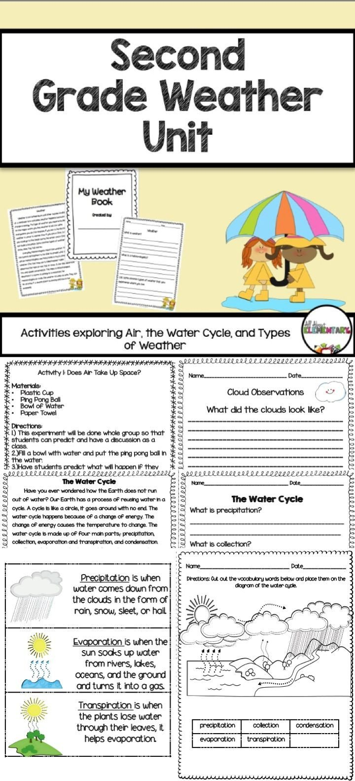 Weather Worksheets for Second Grade Weather Activities for Second Grade