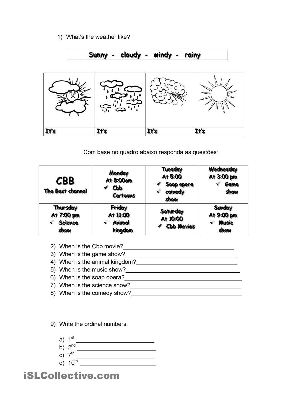 Weather Worksheets for Second Grade Weather Days Of Week ordinal Numbers and Seasons