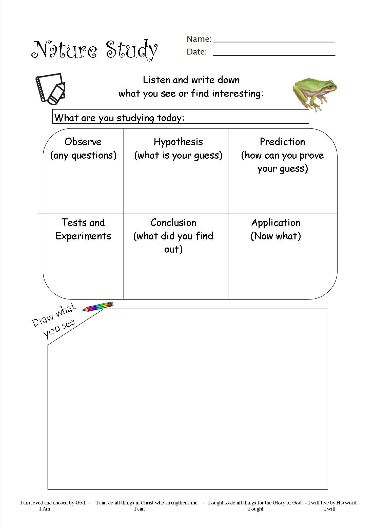 Who Am I Science Worksheet I Made This Nature Study Worksheet and Added In the