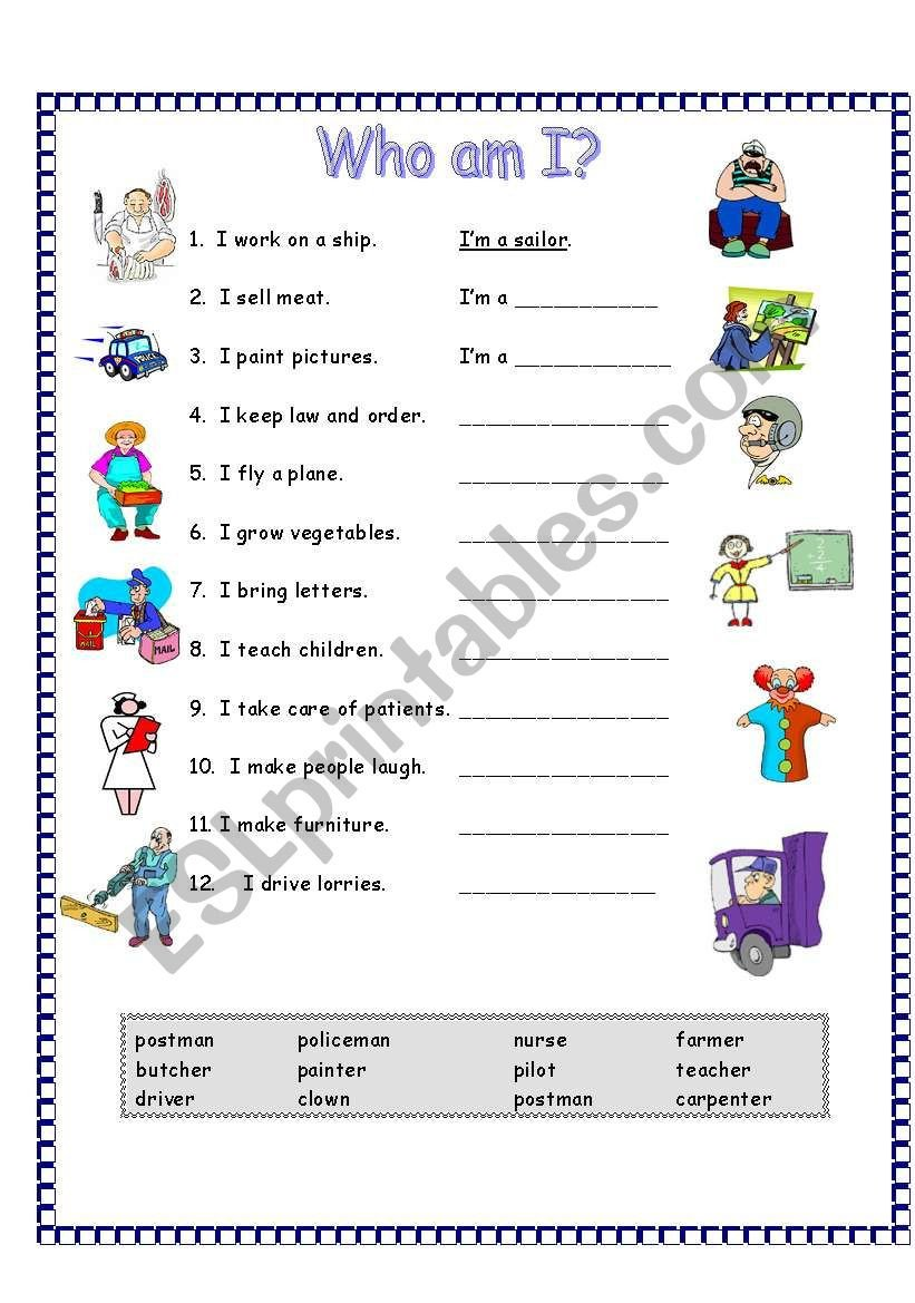 Who Am I Worksheets Occupations who Am I Esl Worksheet by Elaineabela1