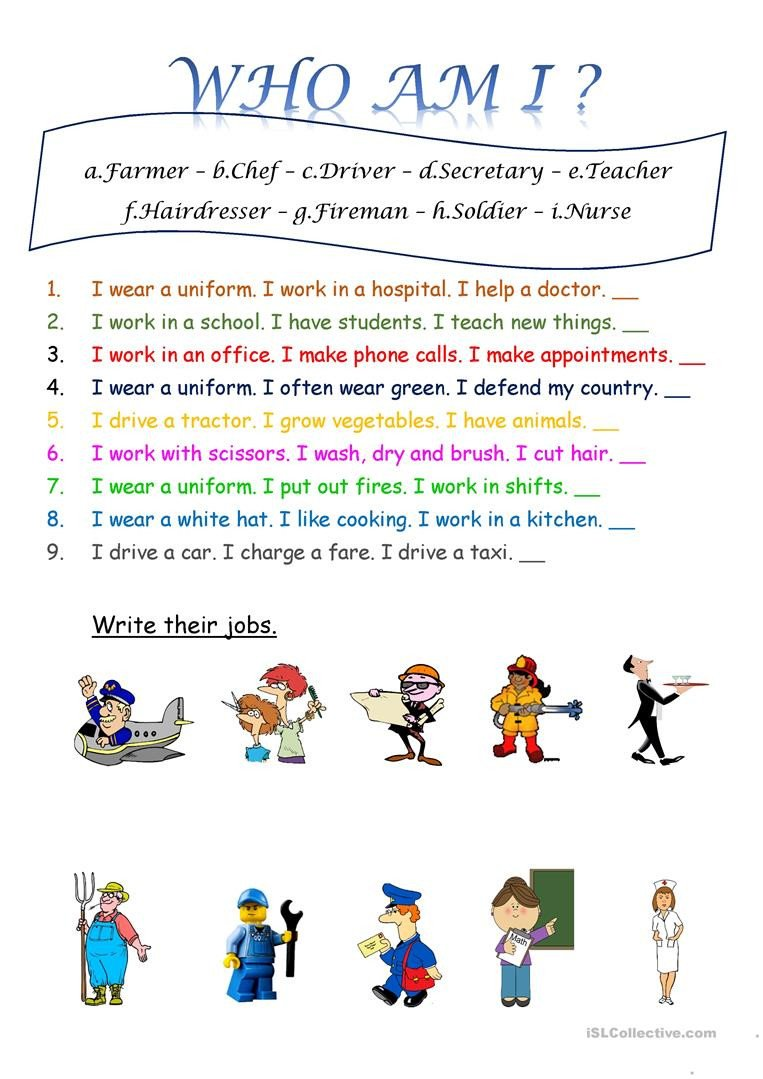 Who Am I Worksheets who Am I Jobs English Esl Worksheets for Distance