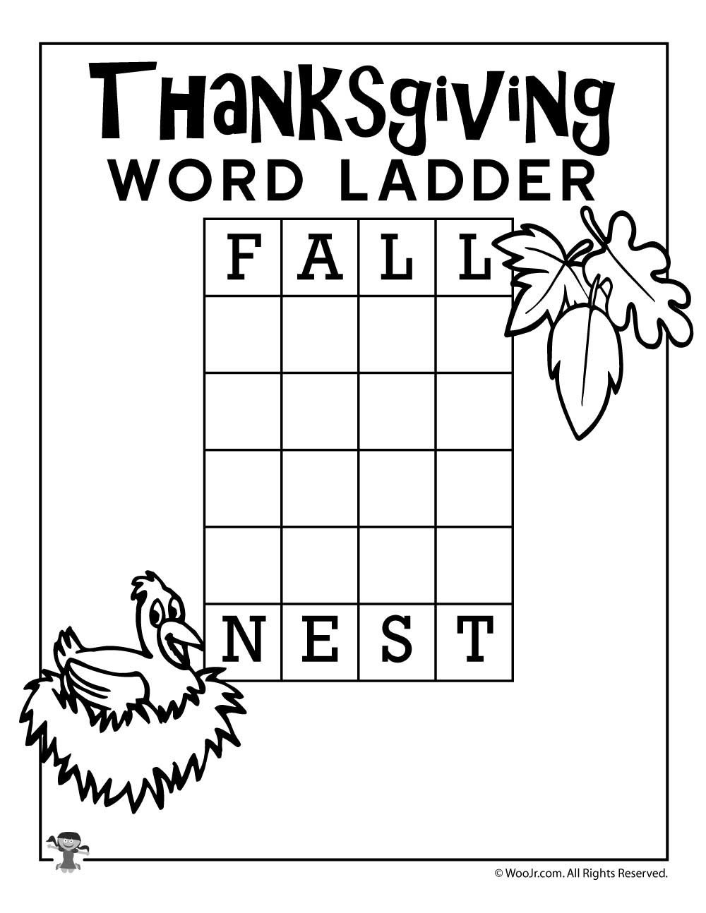 Word Ladder Worksheets Fall Nest Thanksgiving Word Ladder