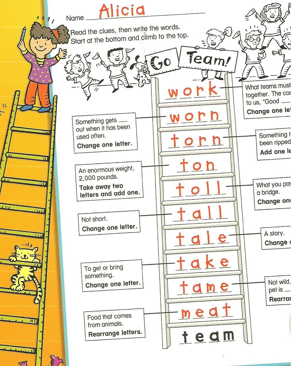 Word Ladder Worksheets Multisensory Monday Word Ladders