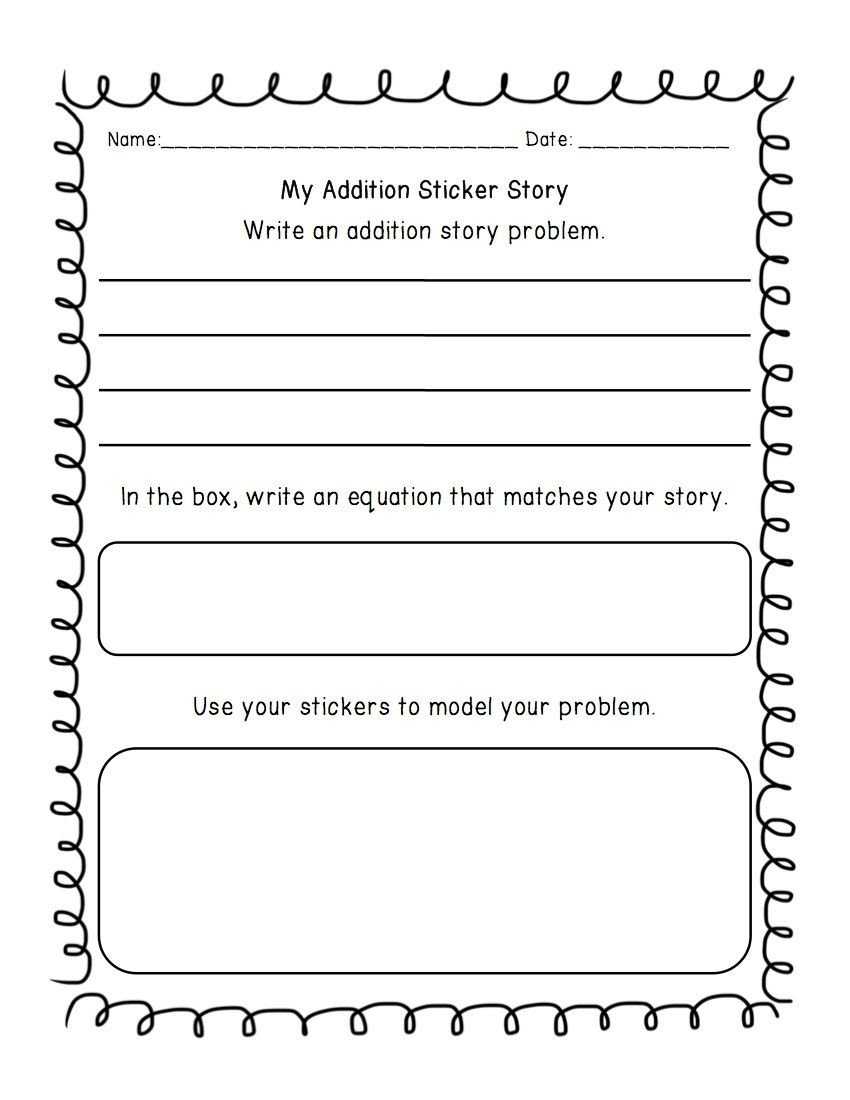 Word Problems Kindergarten Worksheets Addition & Subtraction Write A Word Problem Worksheet