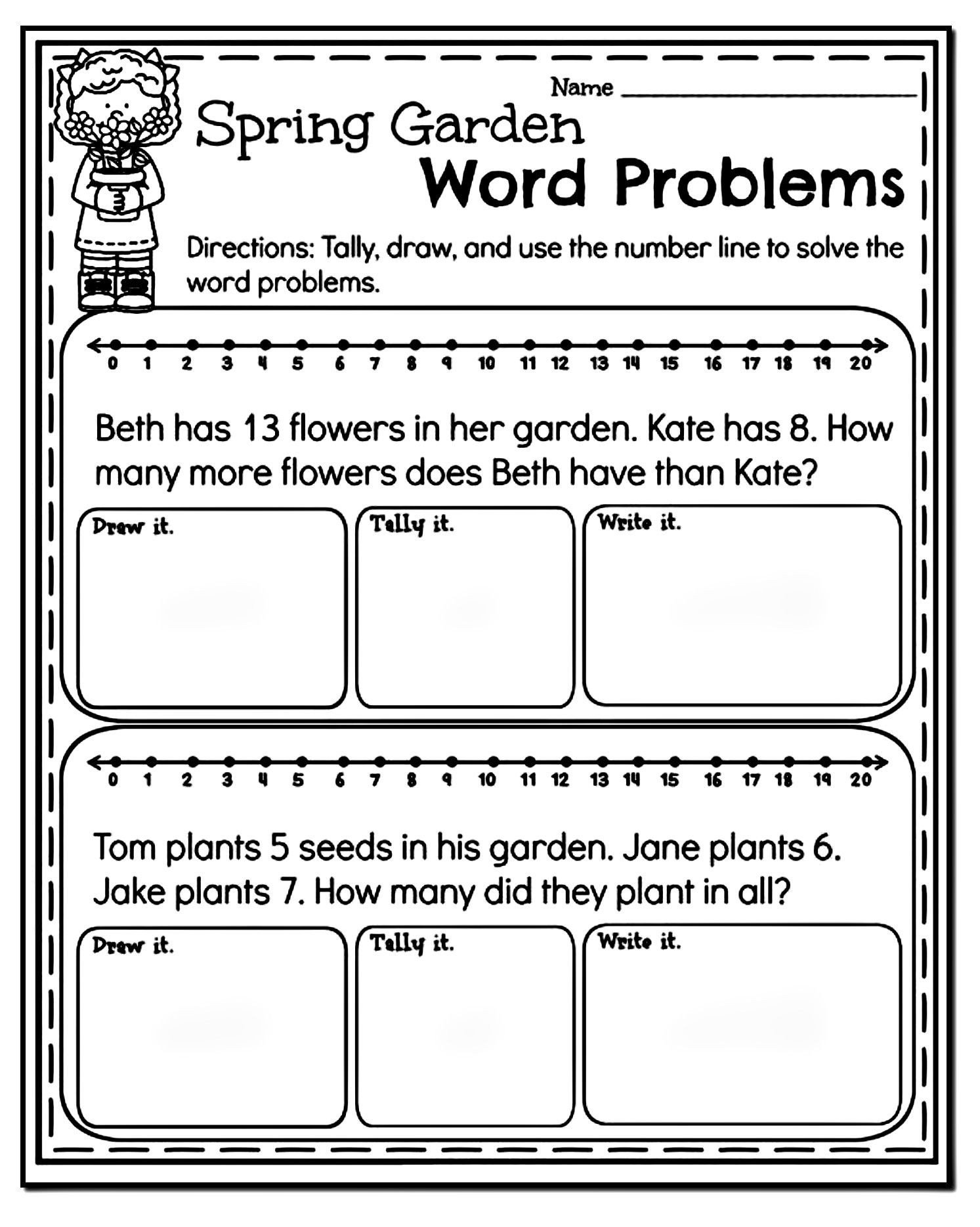 Word Problems Worksheets 1st Grade Pin On Educational Worksheets Template