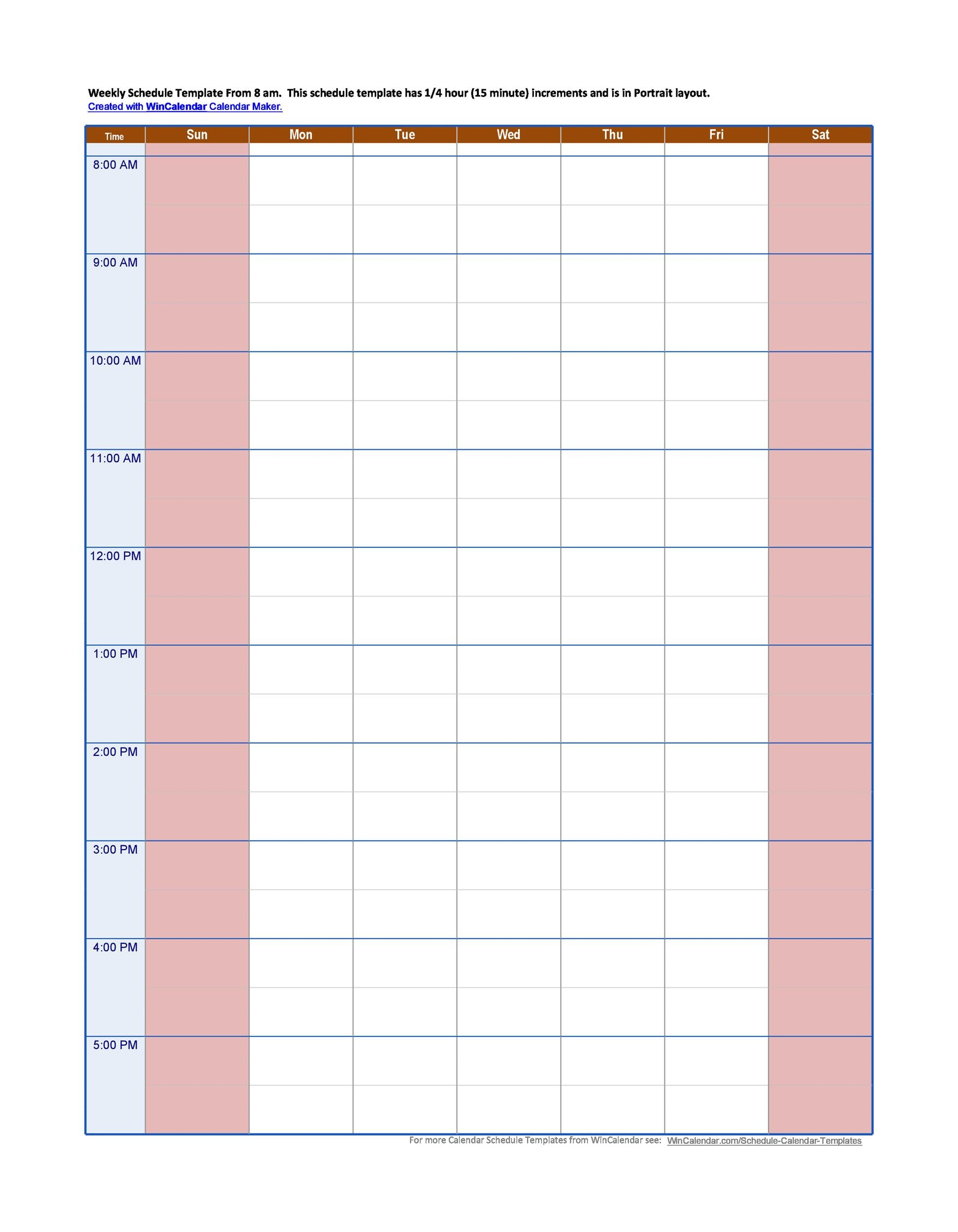 hourly schedule template 33
