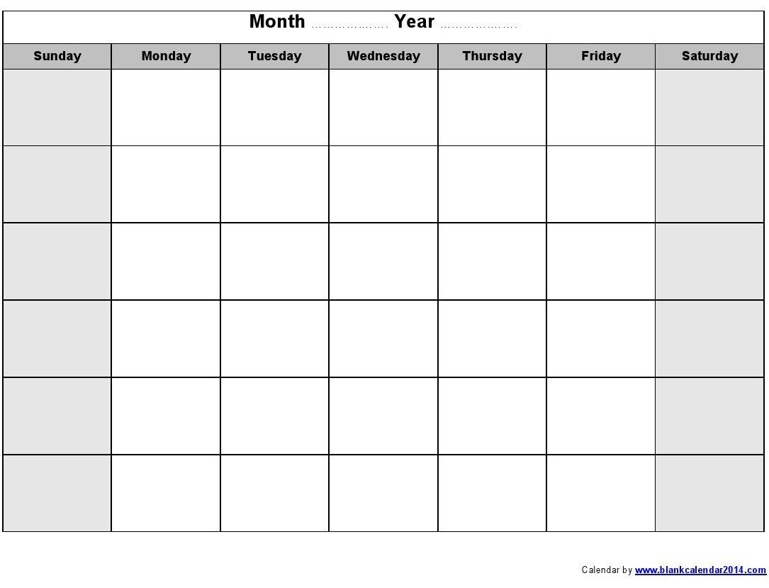 Free Editable Monthly Calendar Template Printable Free Editable Monthly Calendar Template Printable