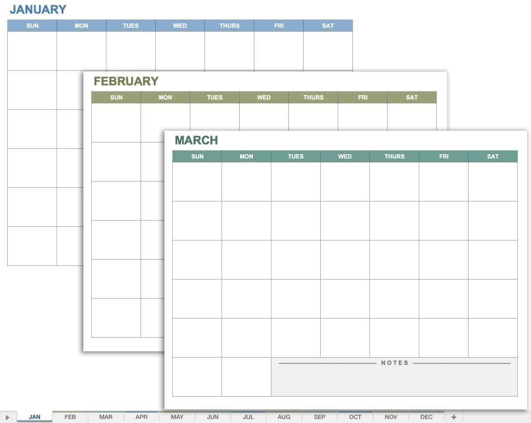 IC Any Year 12 Month Calendar Template
