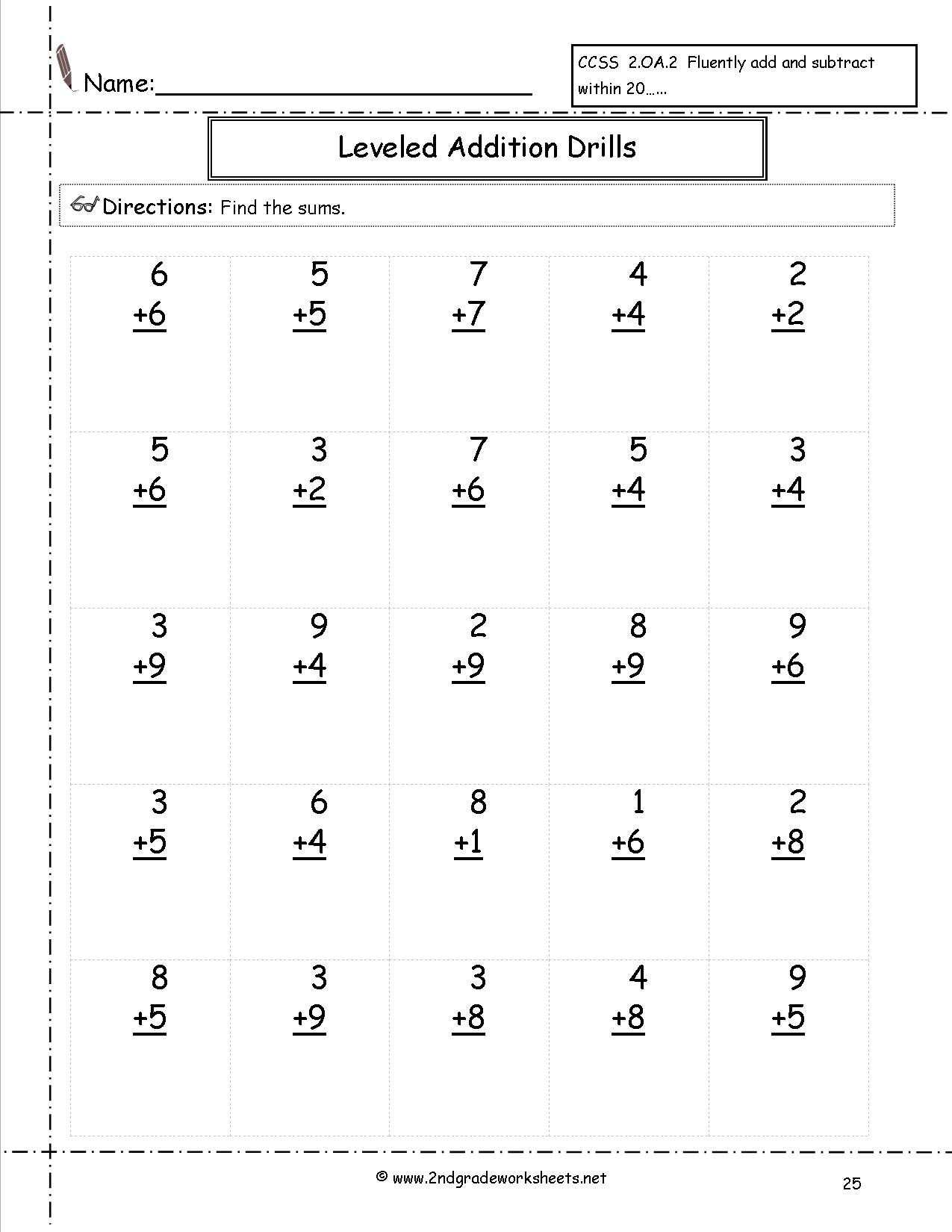 free math worksheets and printouts 2nd grade multiplication additiondrills25 leveled