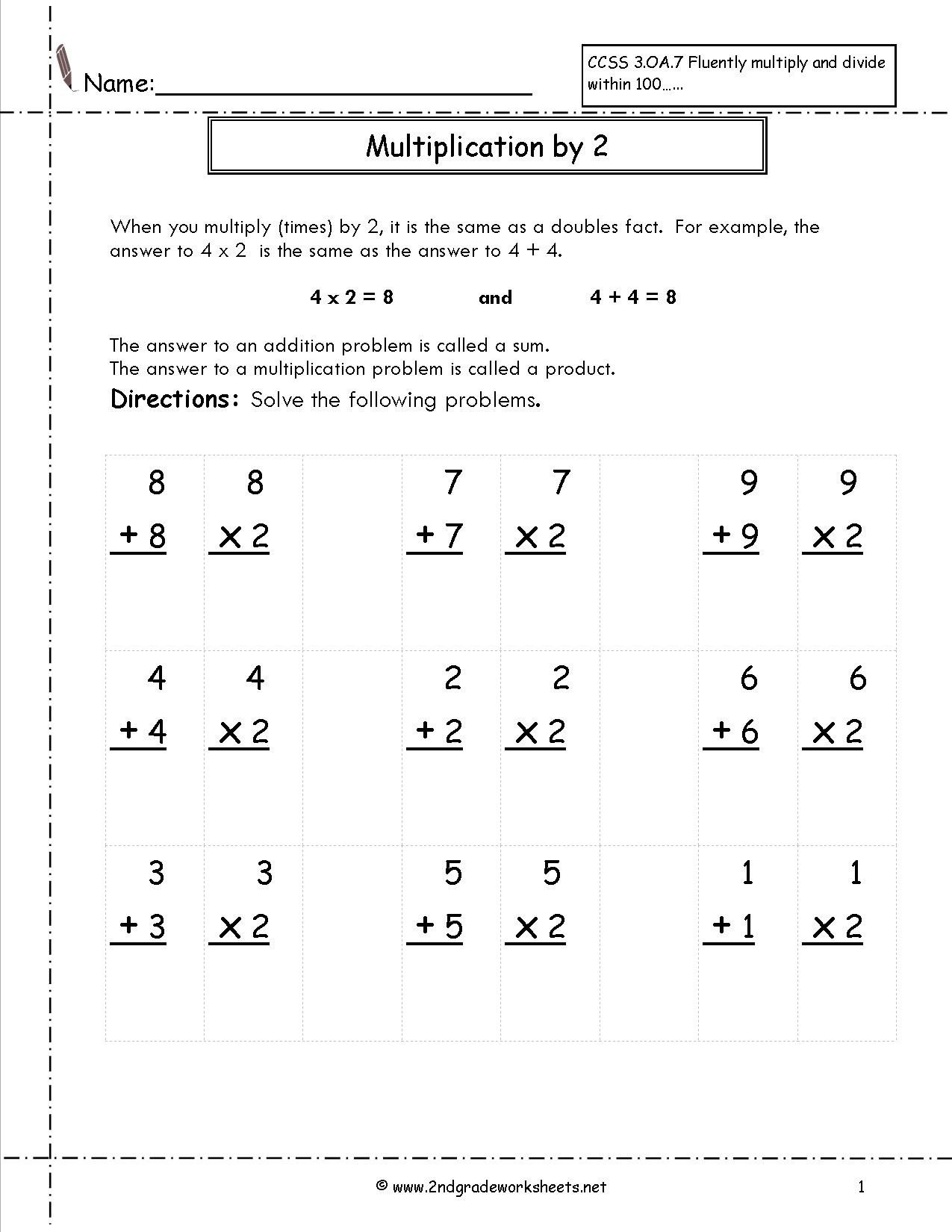 worksheet freeets for third grade second multiplication 2nd math