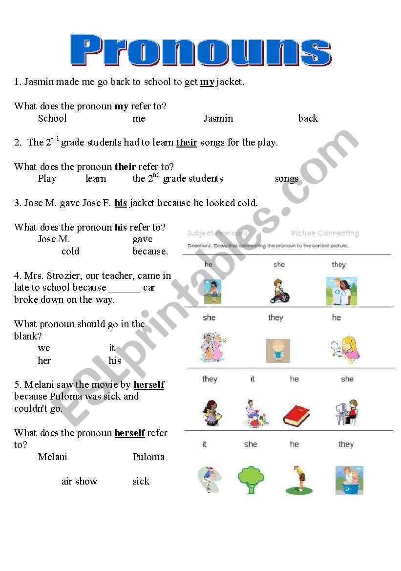 2nd Grade Pronoun Worksheets Pronouns Worksheet Y6 Printable Worksheets and Activities