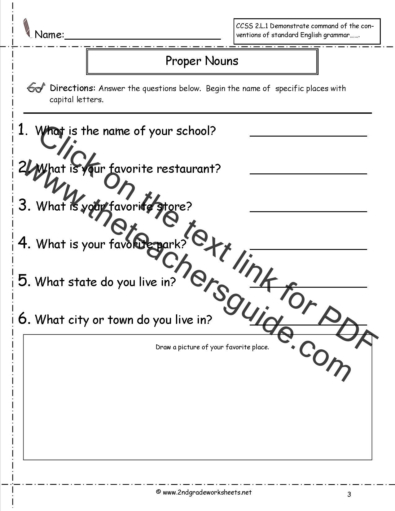 2nd Grade Proper Nouns Worksheet Mon and Proper Nouns Worksheet