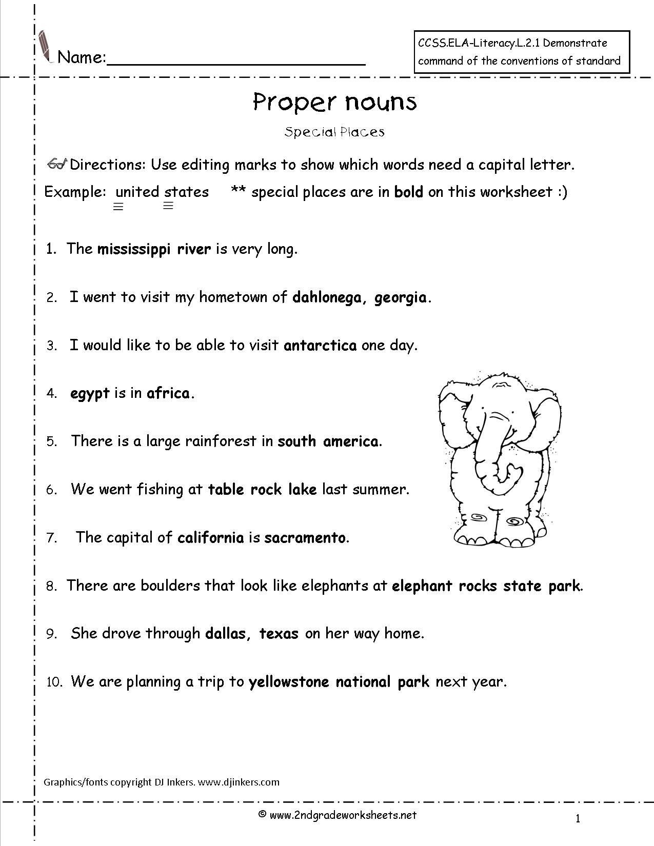 2nd Grade Proper Nouns Worksheet Mon and Proper Nouns Worksheets From the Teacher S Guide