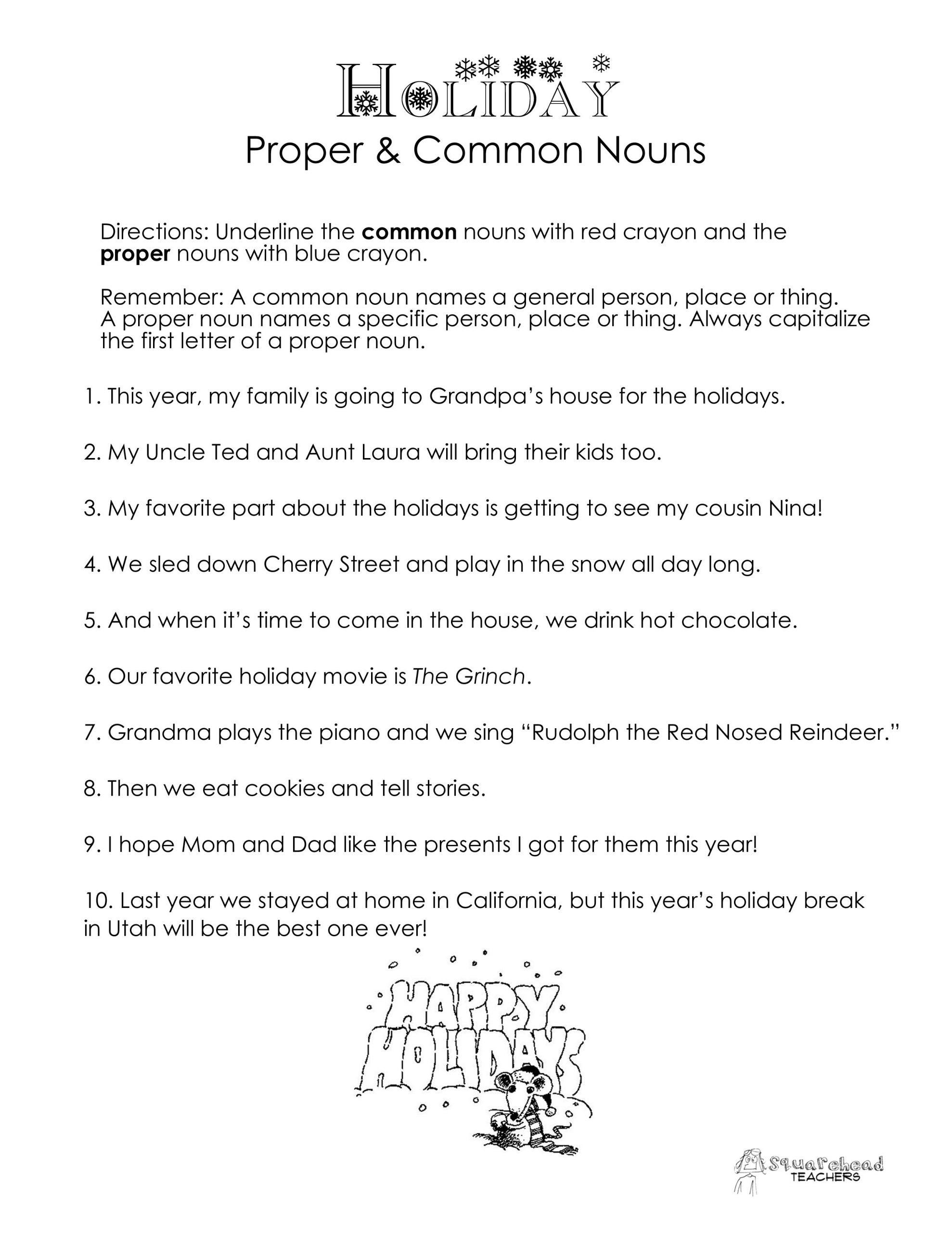 holiday mon nouns vs proper nouns worksheet
