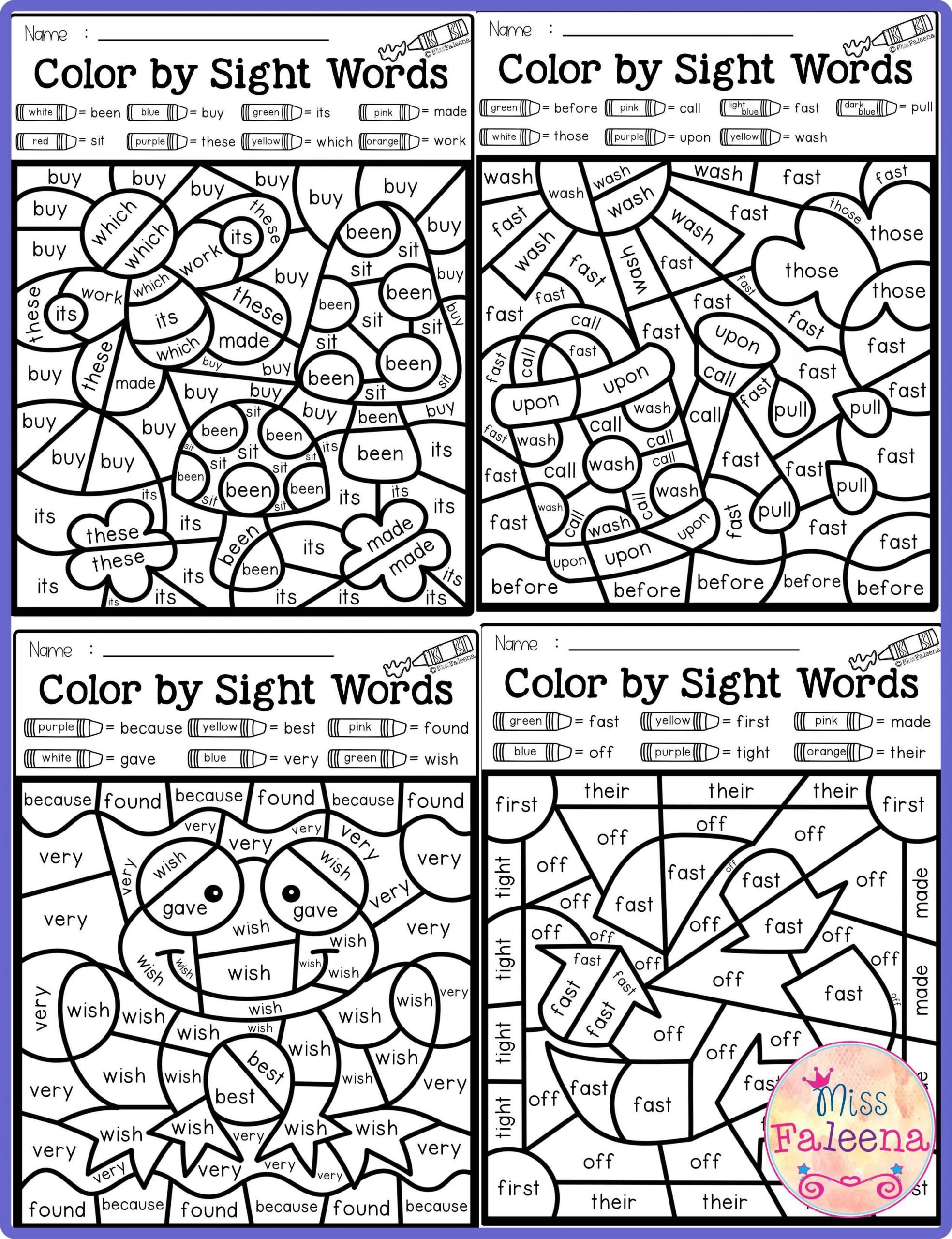 2nd Grade Sight Word Worksheets there are 20 Pages Of Color by Sight Words Worksheets In