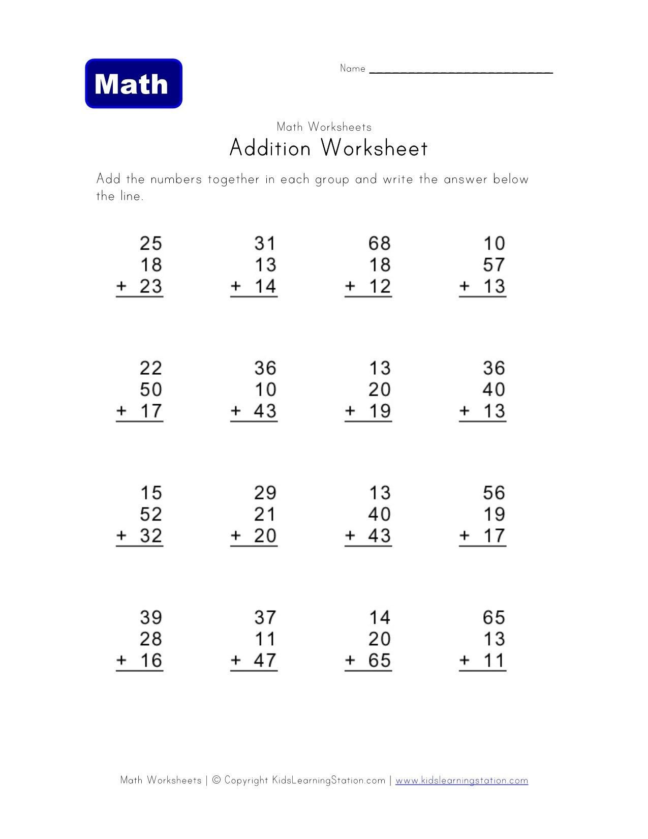 3 Addends Worksheets 2 Digit 3 Addend Addition Worksheet