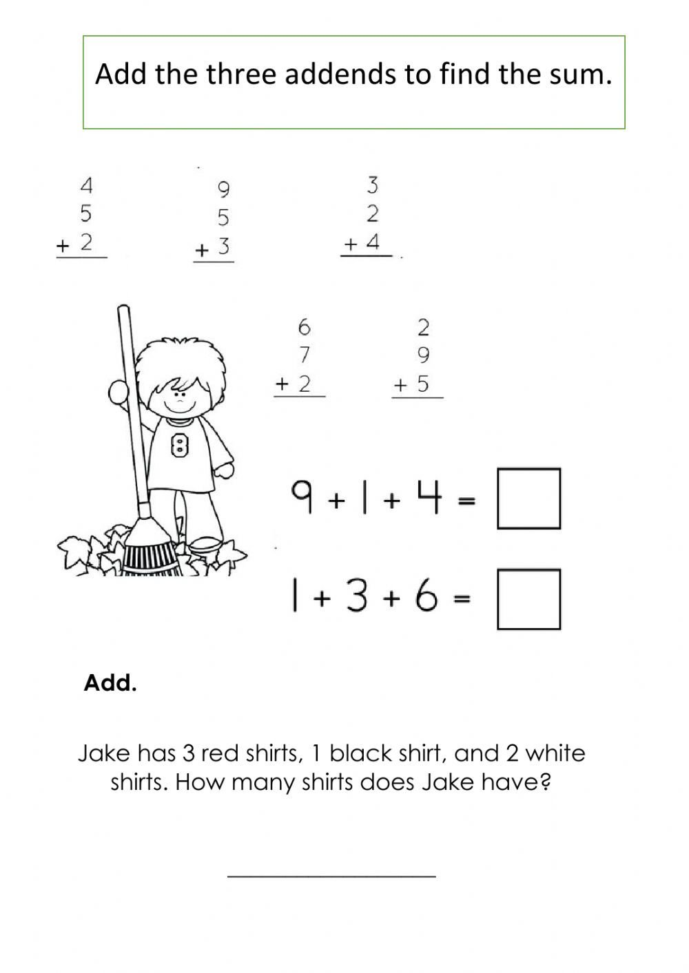 3 Addends Worksheets Add 3 Addends Interactive Worksheet