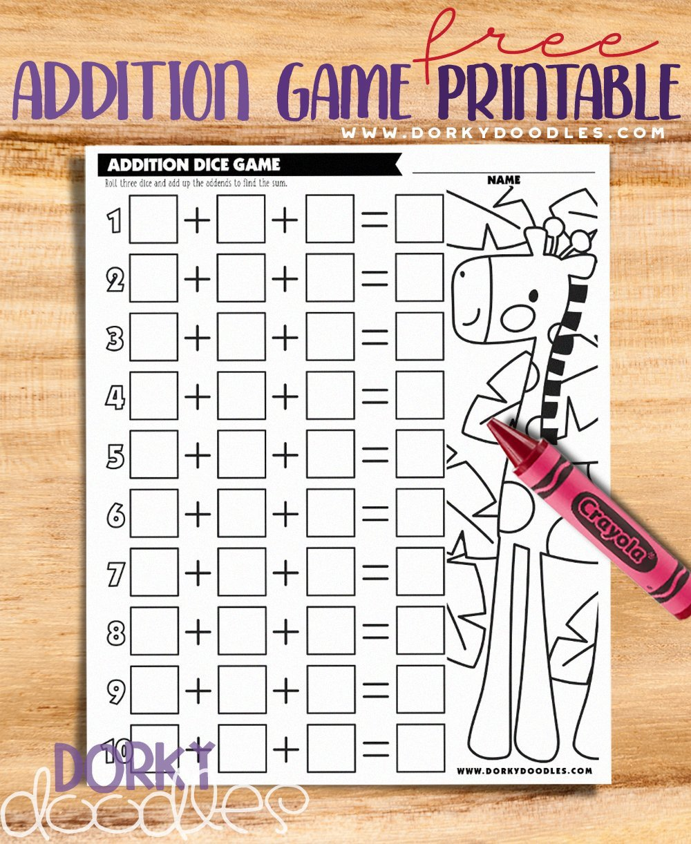 addition rolling game with 3 addends free printable