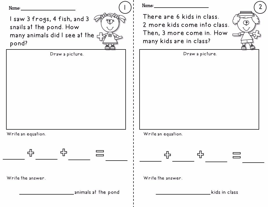3 Addends Worksheets Simple Word Problem Worksheets Using 3 Addends Up to 20