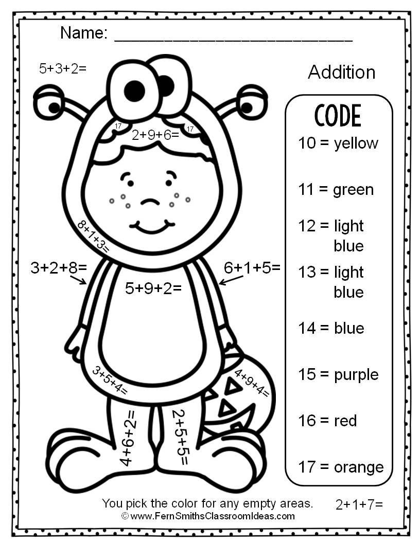 3 Addends Worksheets Two Free Halloween Color by Numbers Addition with Three
