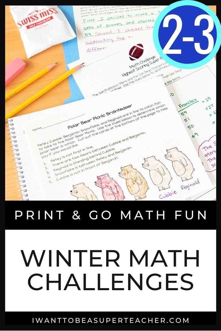 3rd Grade Brain Teasers Worksheets Winter Math Activities Winter Math Worksheets