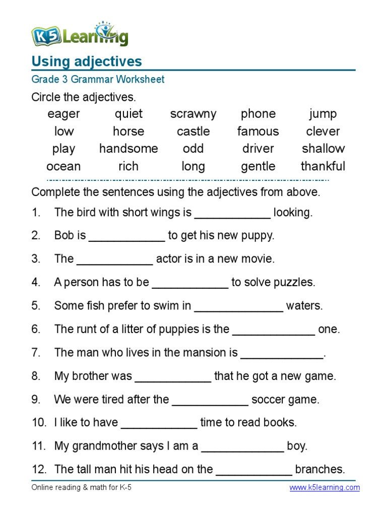 3rd Grade Grammar Worksheets Free Grammar Worksheet Grade Adjectives Sentences Syntax English