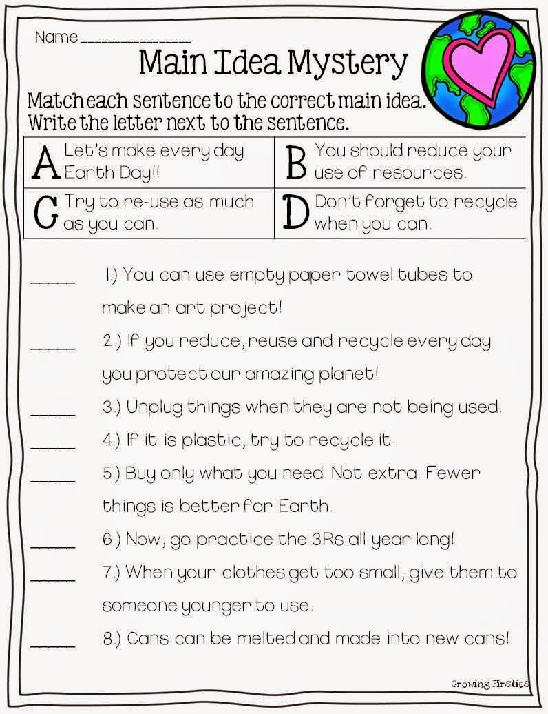 3rd Grade Main Idea Worksheets Mon Core Crunch April