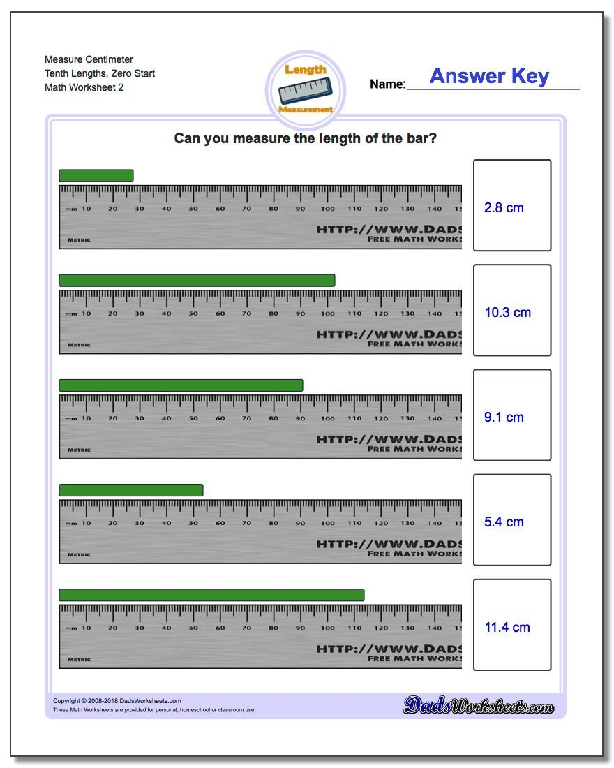 3rd Grade Measurement Worksheet Measure Centimeters From Zero