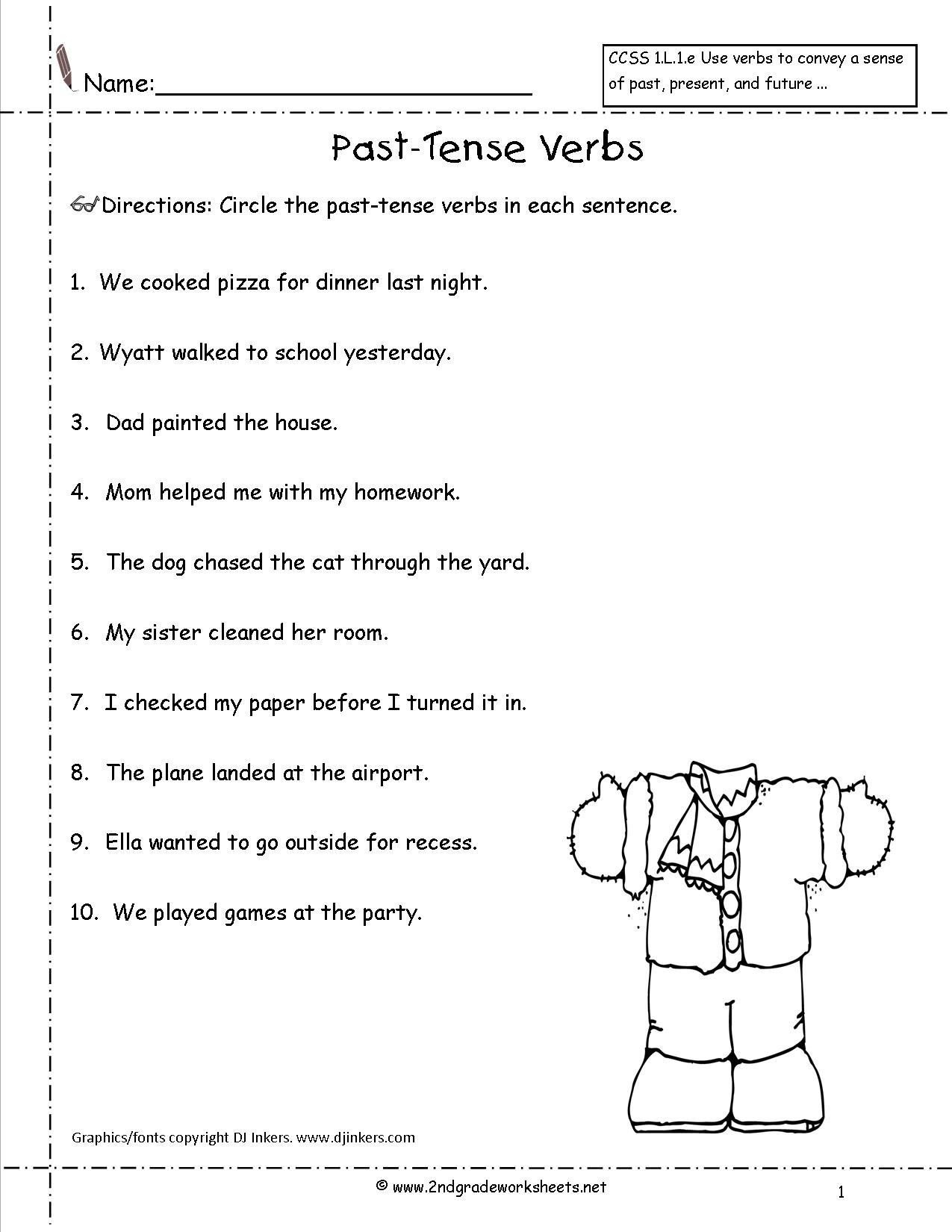 past tense verbs worksheets 2nd grade