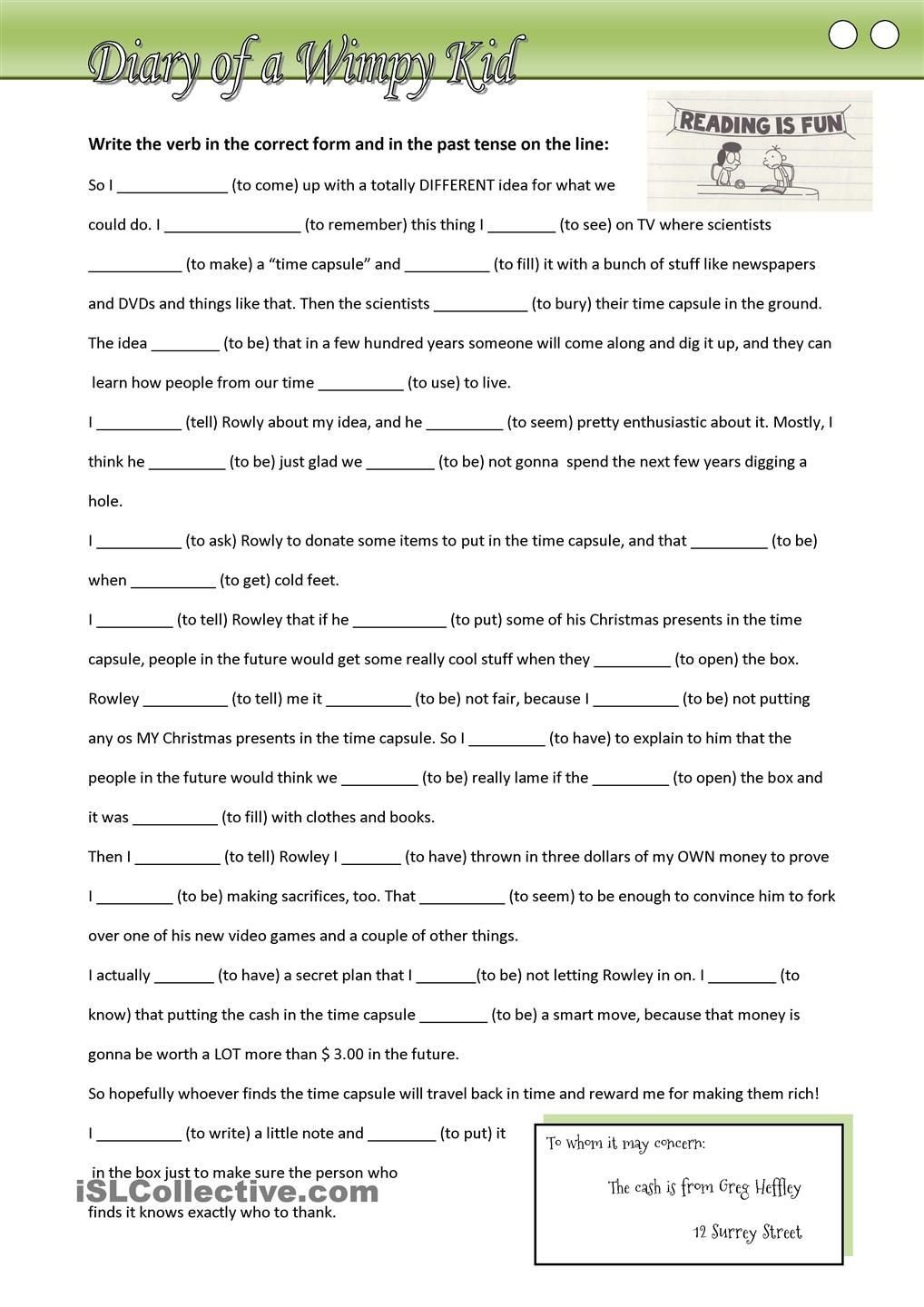 3rd Grade Verb Tense Worksheets Diary Of A Wimpy Kid Fill In Missing Verbs In the Past