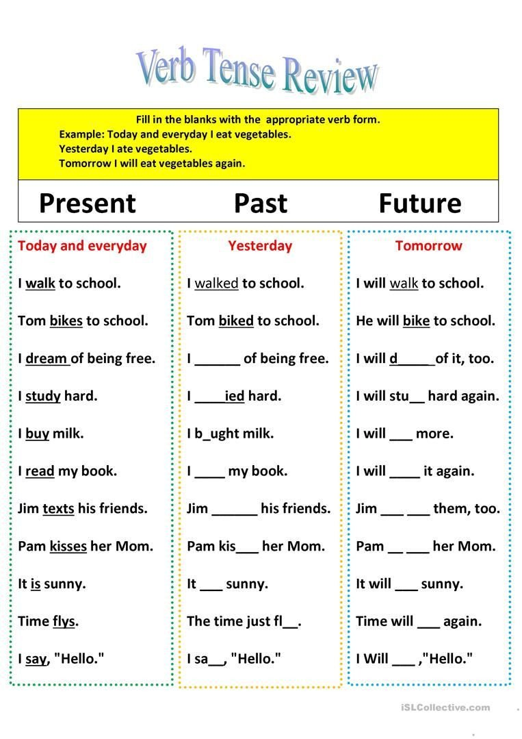3rd Grade Verb Tense Worksheets Revision Of Verb Tenses Present Past and Future English