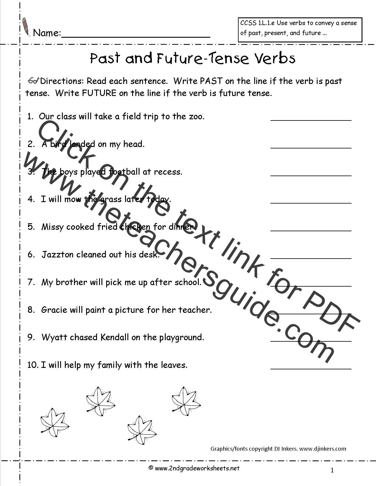 3rd Grade Verb Tense Worksheets Verb Tenses Worksheet Grade 6