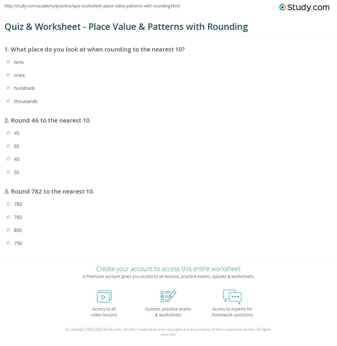 quiz worksheet place value patterns with rounding study