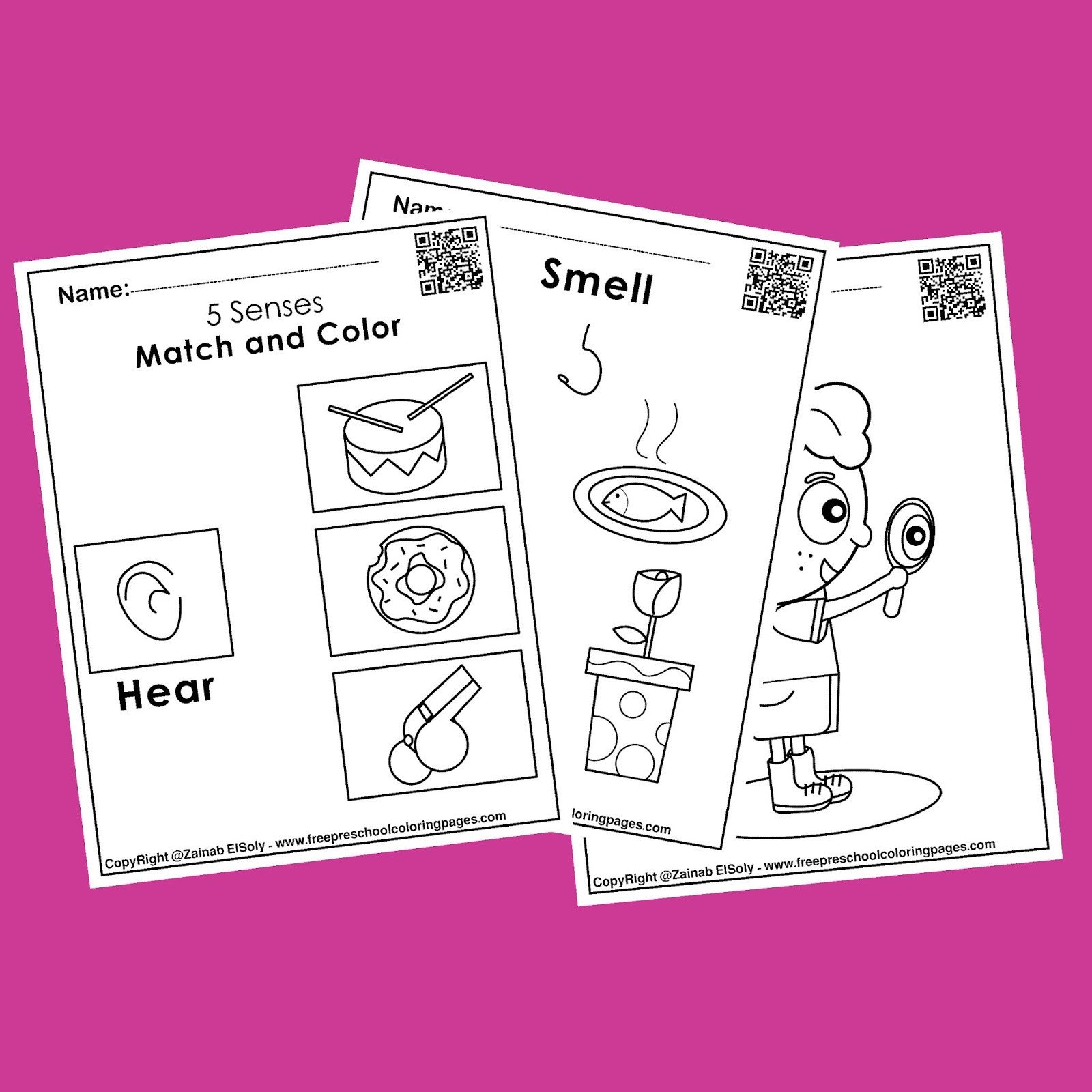 activities for 5 senses preschool coloring pages free printable for kids sight touch taste hear smell match and color 01