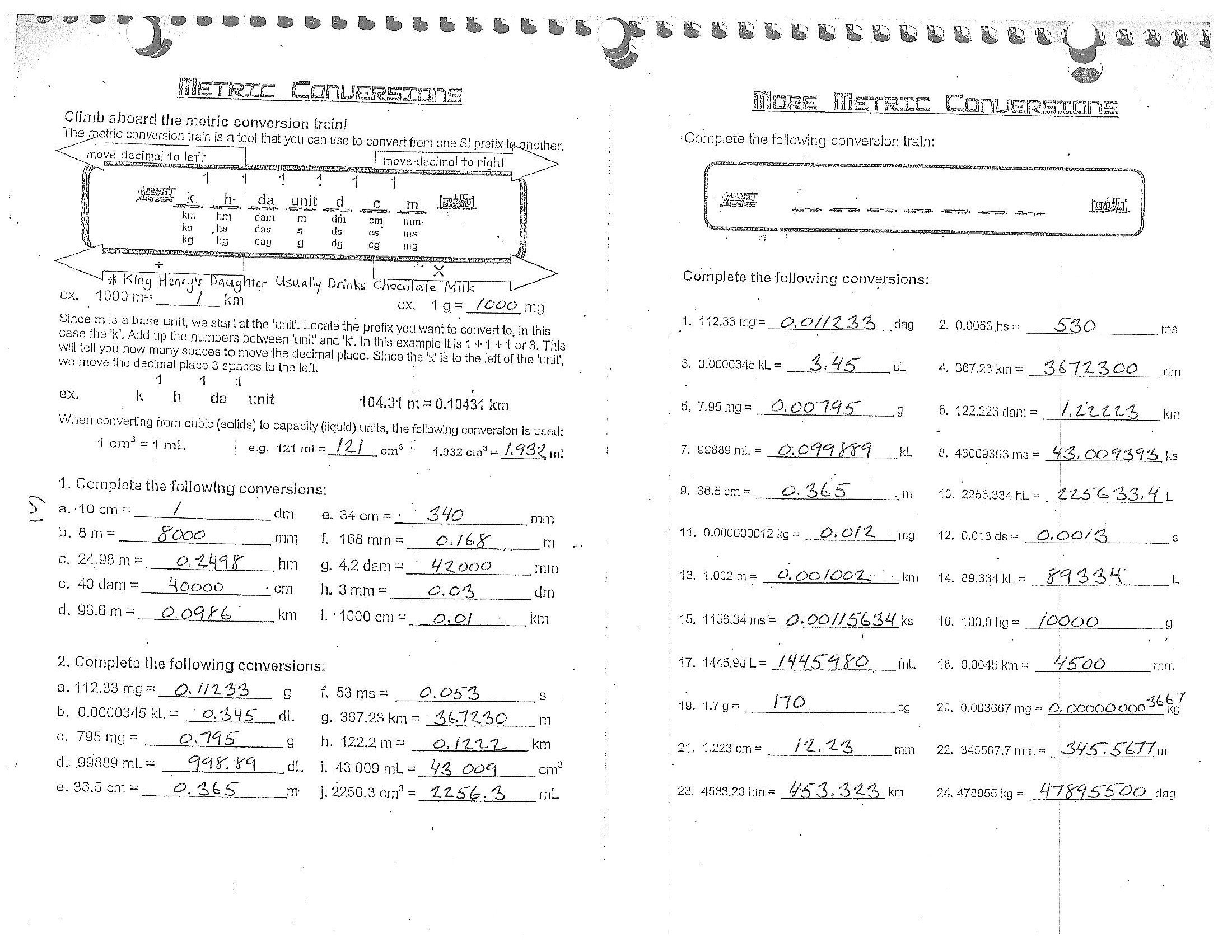 metric system conversion worksheet answers