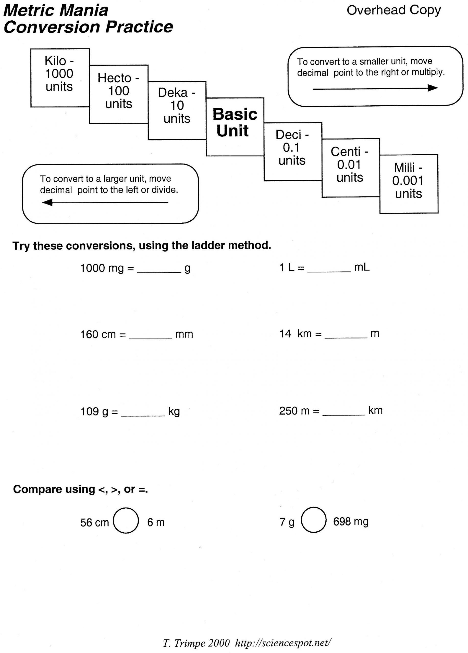 metric conversion problems worksheet with answers free worksheets