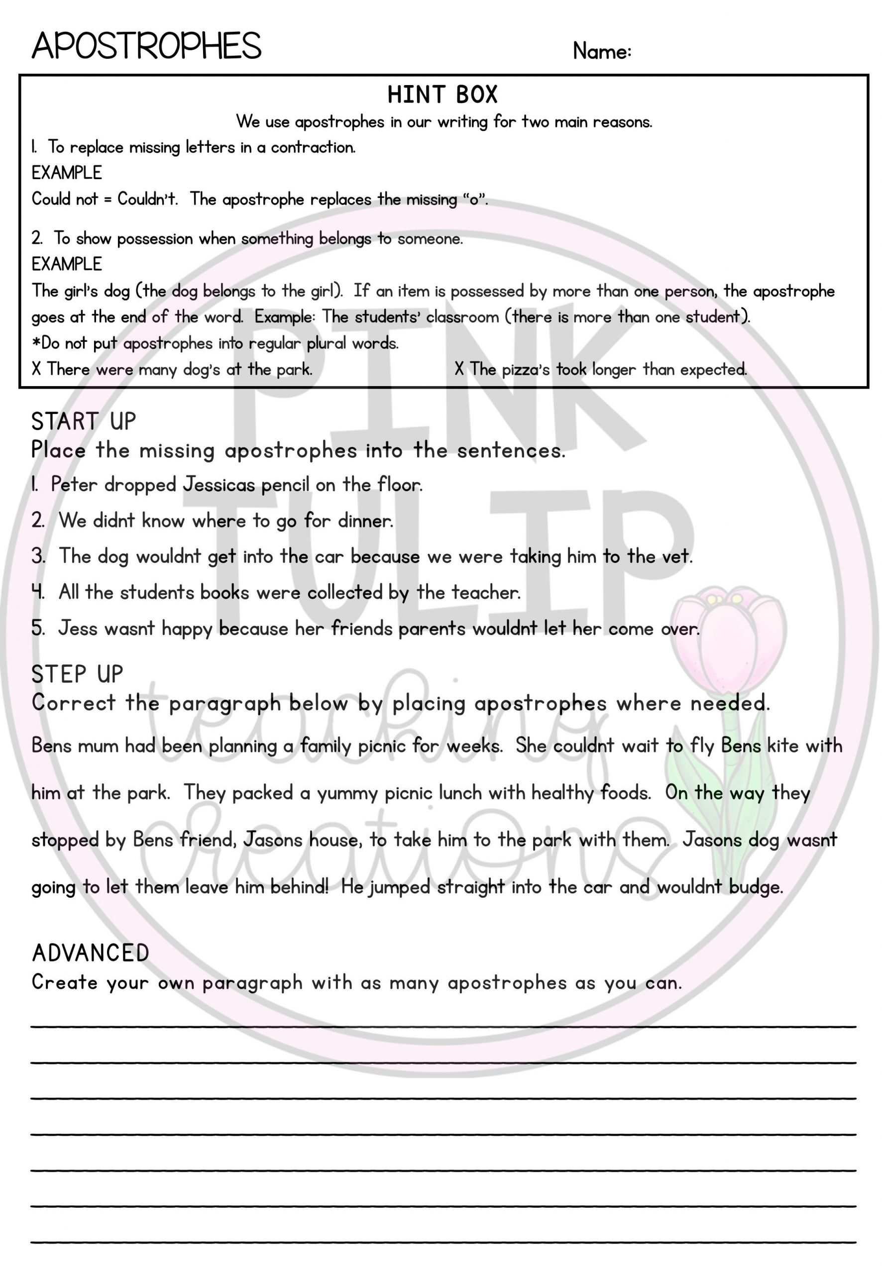 6th Grade Sentence Structure Worksheets Apostrophes and Speech Marks Grammar Worksheets with