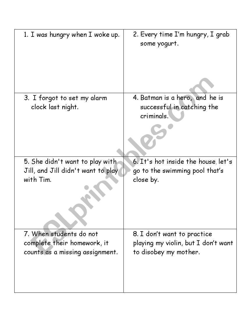 6th Grade Sentence Structure Worksheets English Worksheets Sentence Structure Game