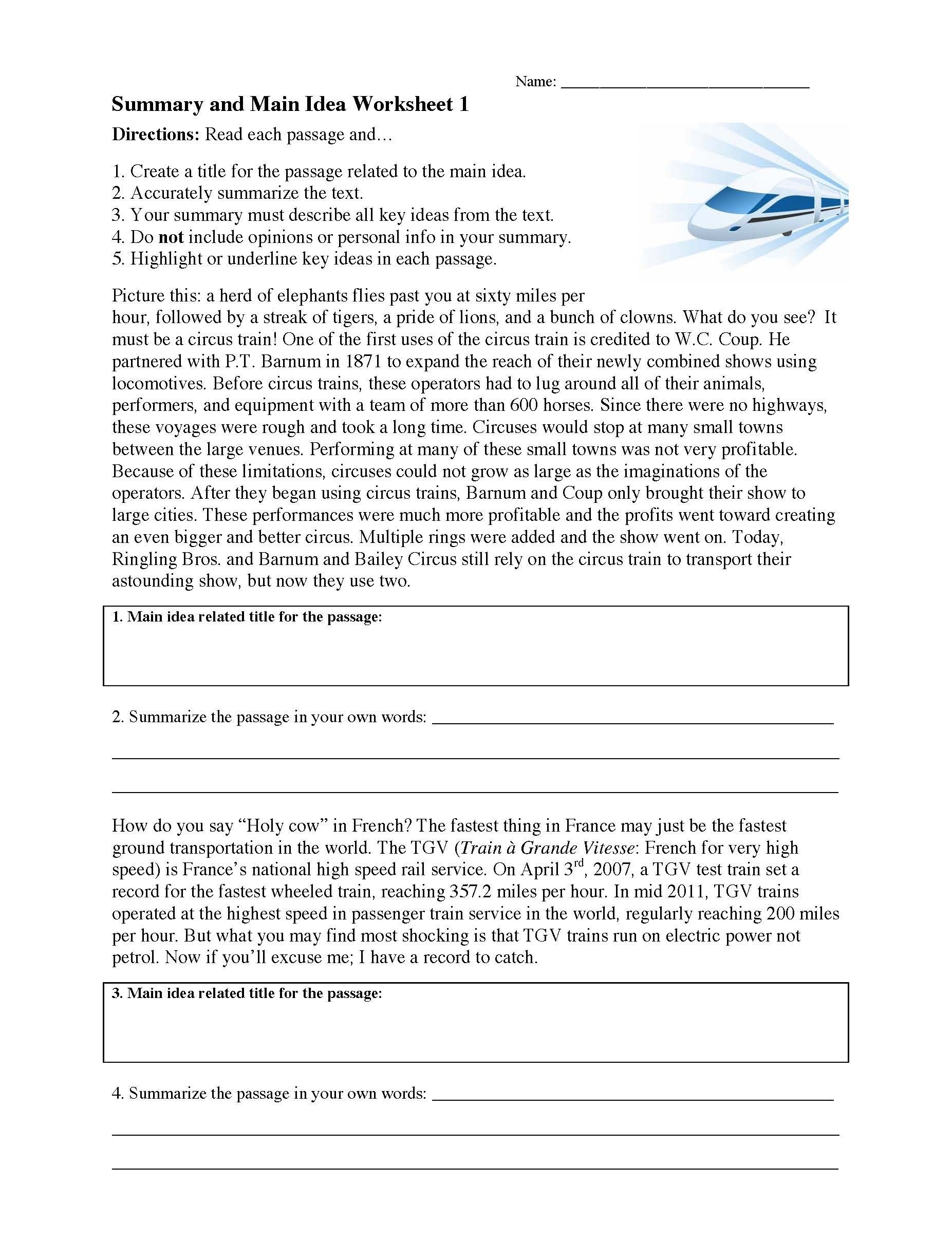 summary and main idea worksheet 01 01