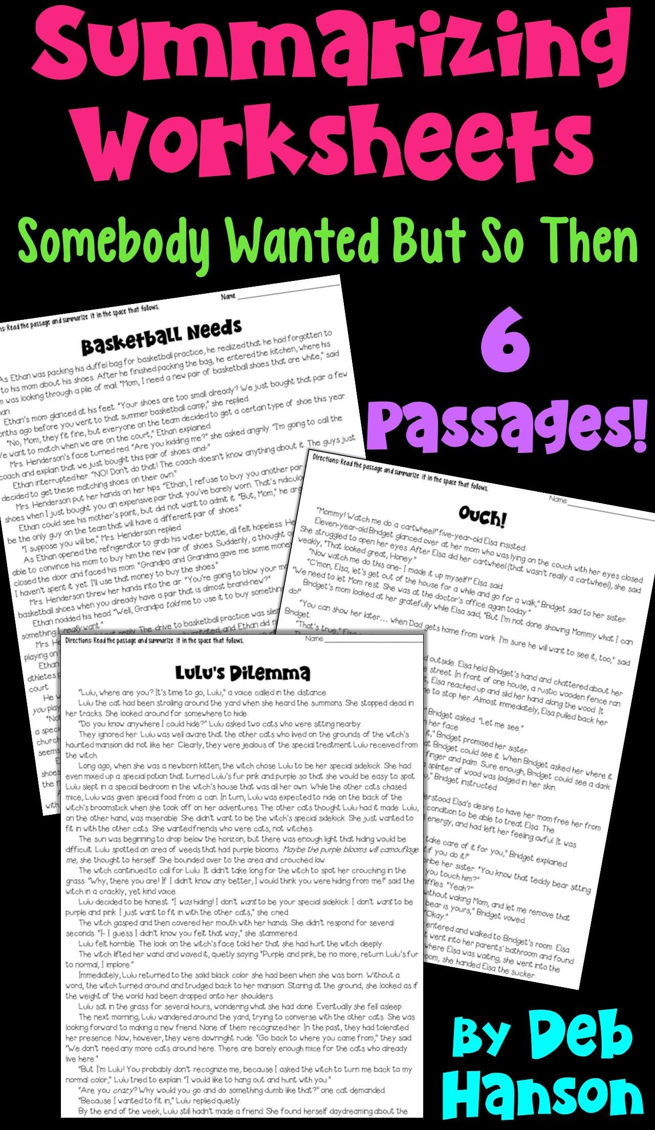 6th Grade Summarizing Worksheets Summarizing Worksheets