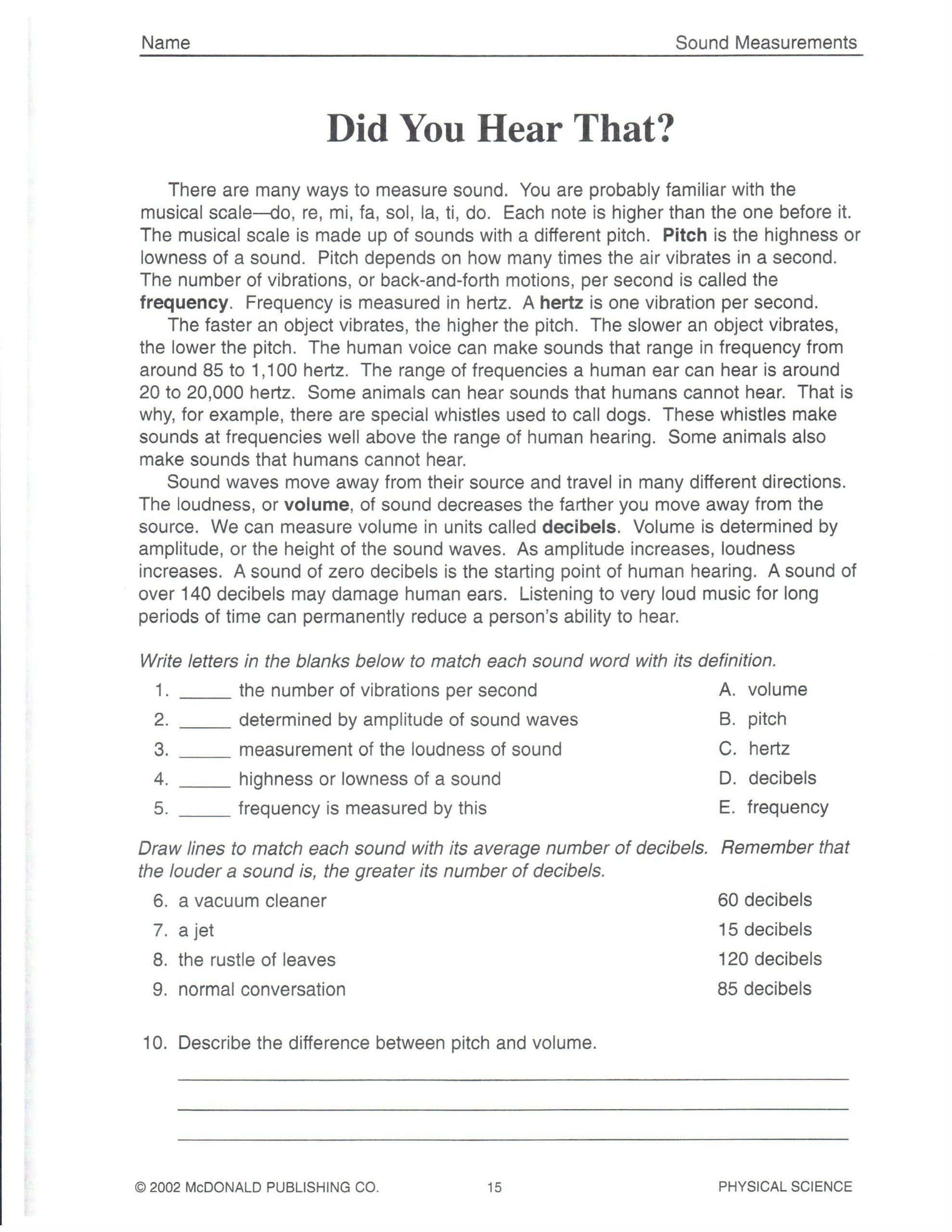 7th Grade Science Worksheets Printable Physical Science Did You Hear that 101roxm 2 550—3 300