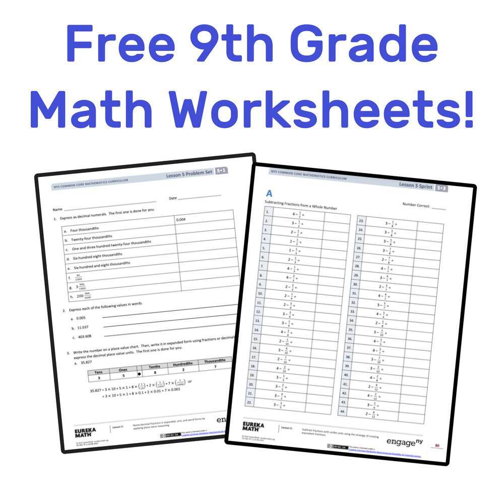 9th Grade Printable Worksheets the Best Free 9th Grade Math Resources Plete List