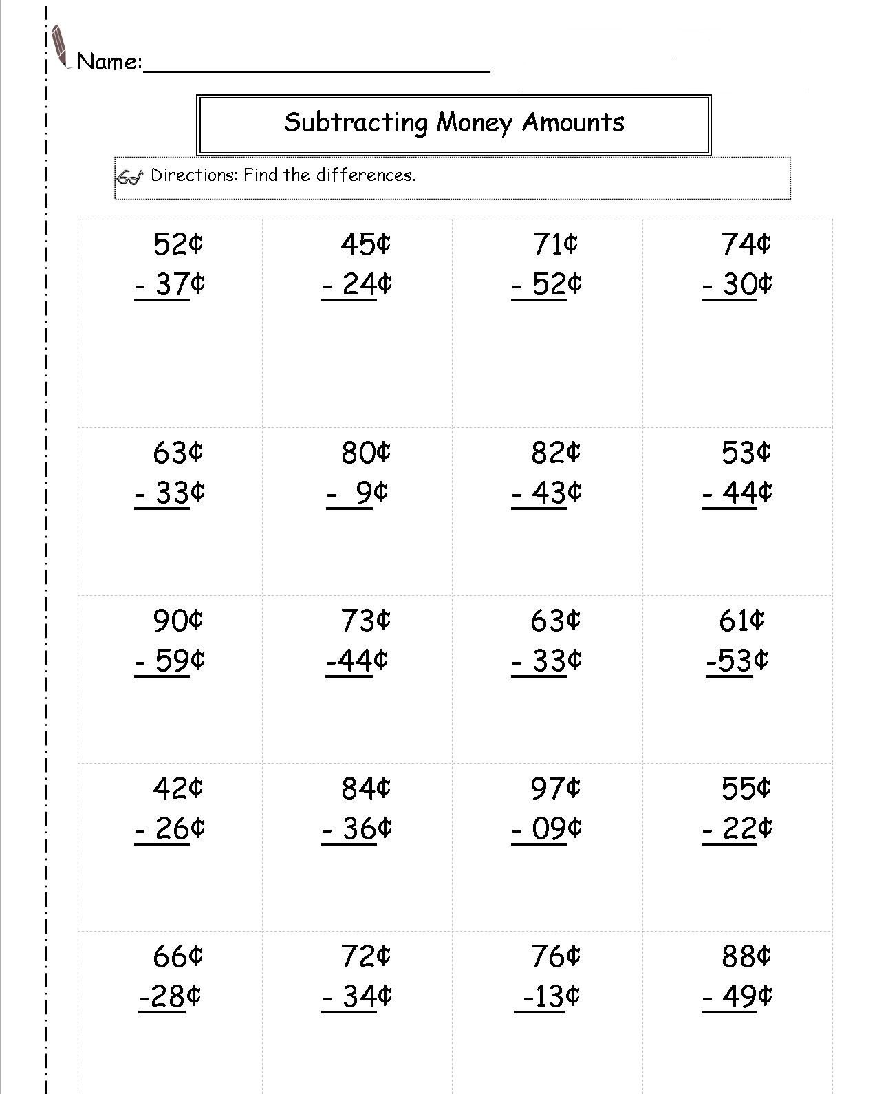 Adding and Subtracting Money Worksheets 2nd Grade Money Worksheets Best Coloring Pages for Kids