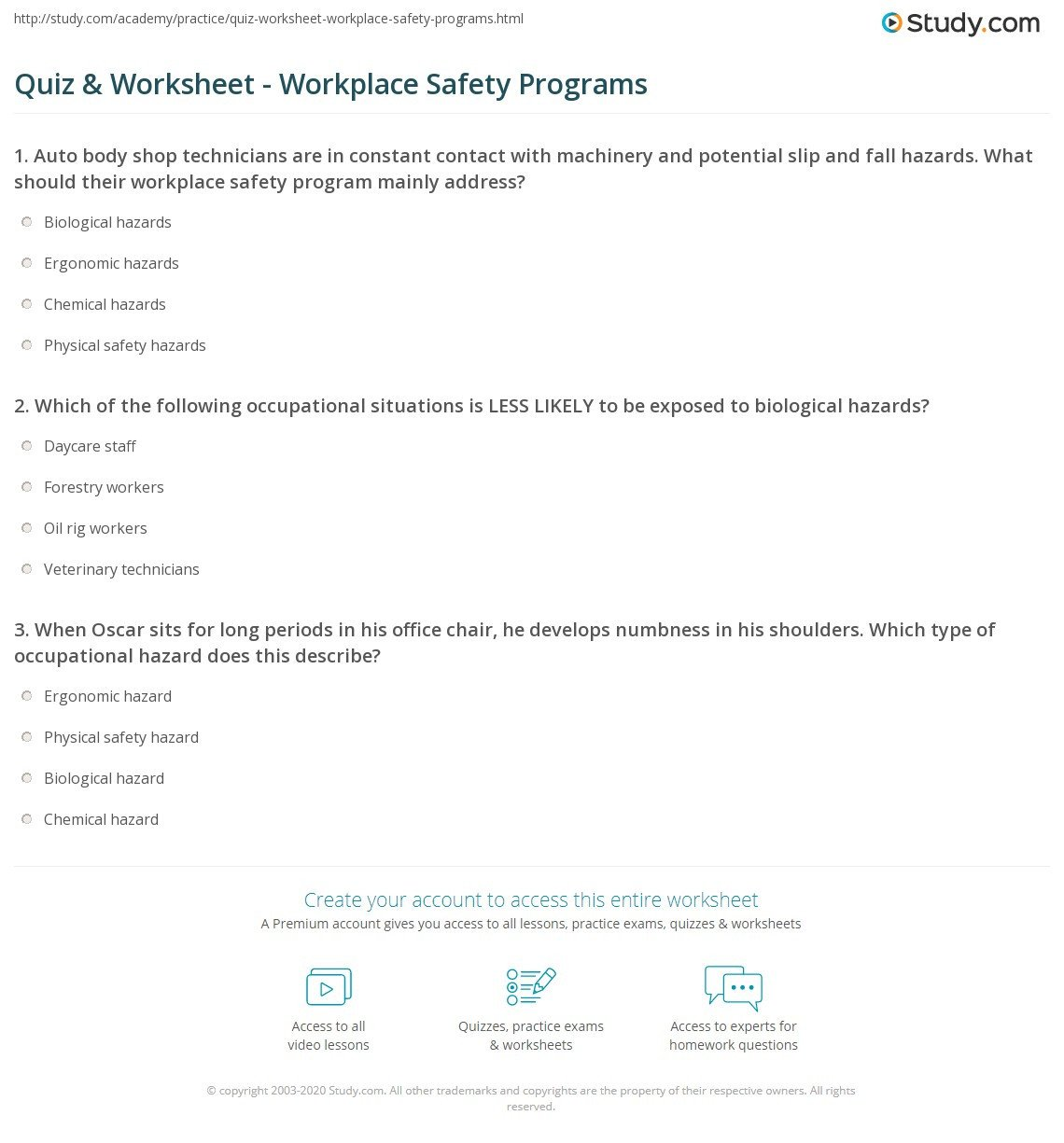 quiz worksheet workplace safety programs study worksheets for students multiplying whole