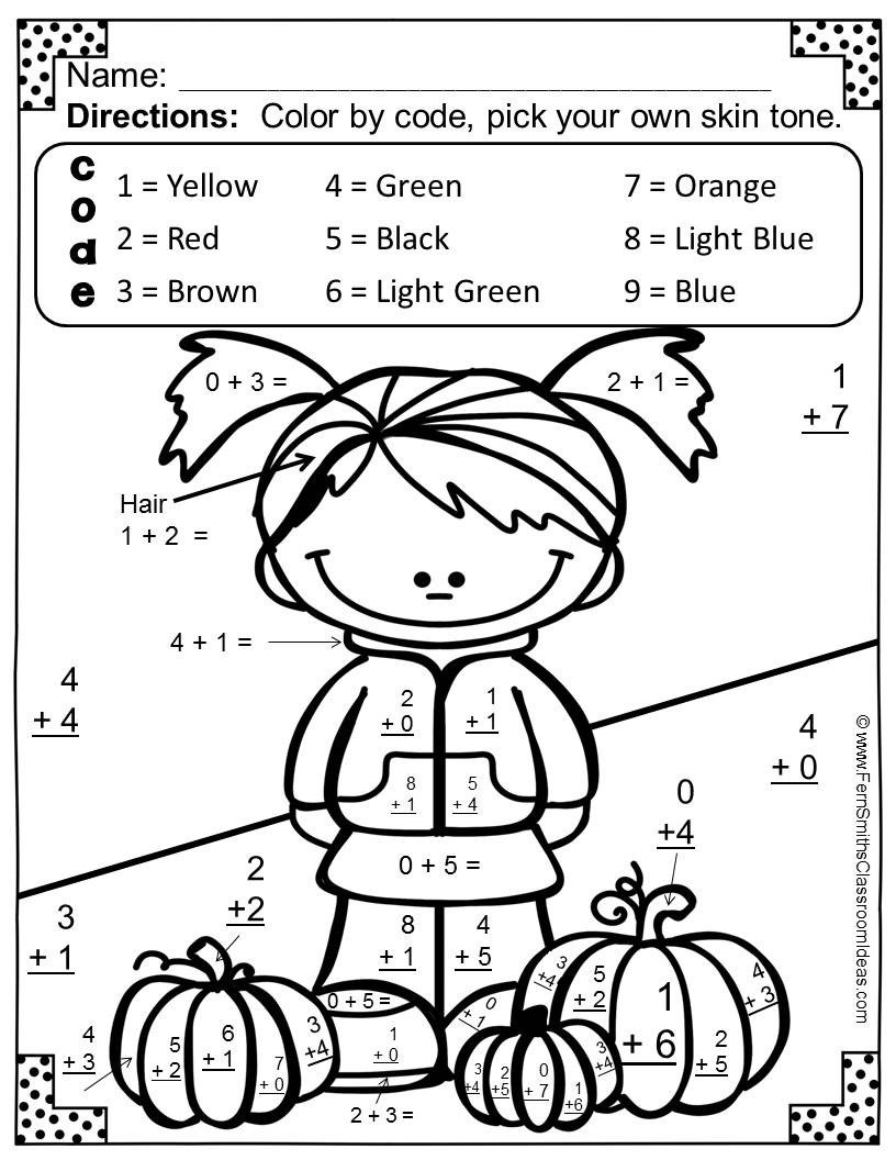 Addition Coloring Worksheets for Kindergarten Coloring Book Math Coloring Pages Color by Number Addition